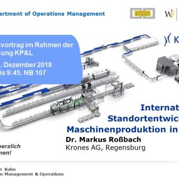 Vortrag an der WFI - Internationale Standortentwicklung: Maschinenproduktion in China