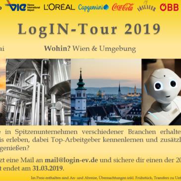 Die Anmeldung zur LogIN Tour 2019 läuft - erlebe 10 verschiedene Unternehmen verschiedener Branchen in Wien und erhalte unvergessliche Praxiseinblicke